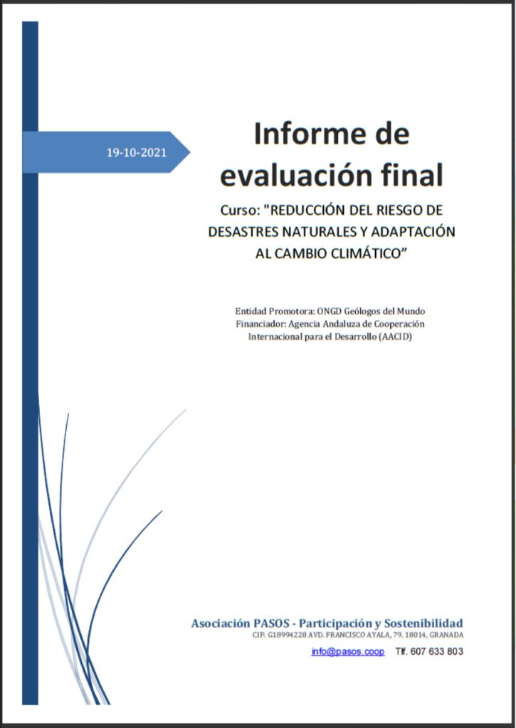 """Informe de evaluación del Curso """"Reducción del riesgo de desastres naturales y adaptación al cambio climático"""""""